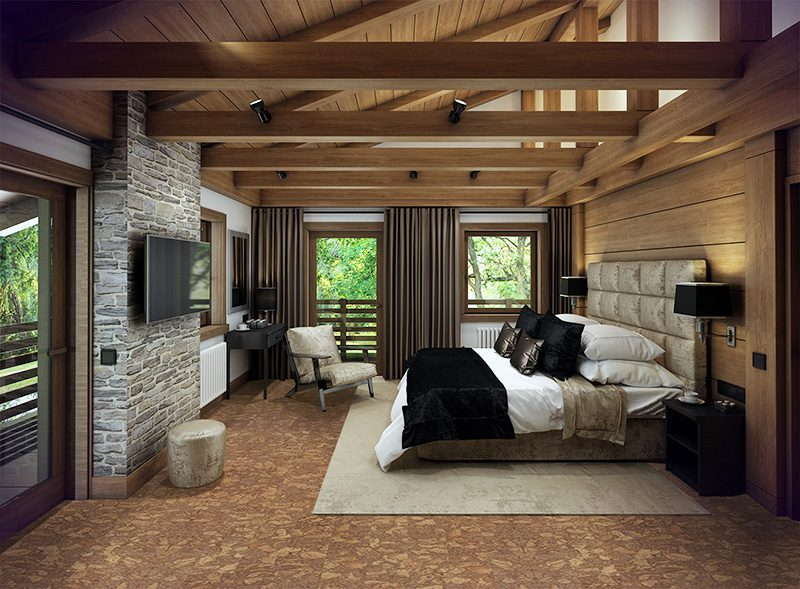 rocky bush forna cork floor cozy bedroom iattic chalet interior wood natural materials