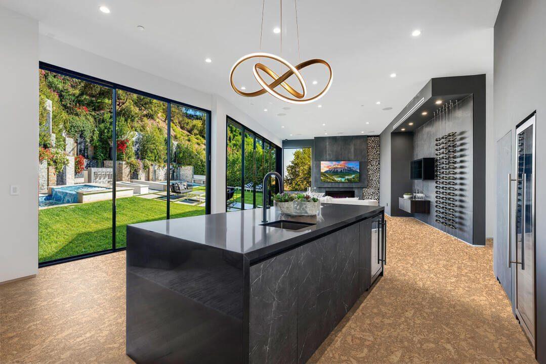 rococo cork flooring in kitchen wine cellar design led light