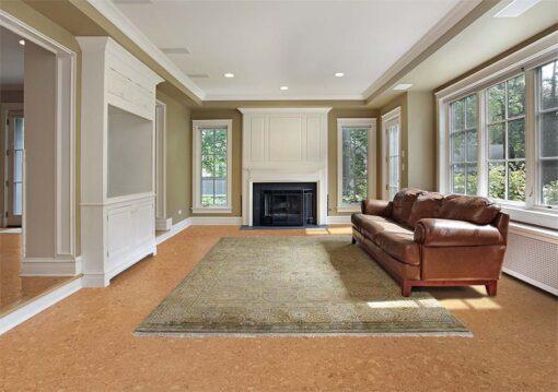 salami cork floor family room luxury home fireplace