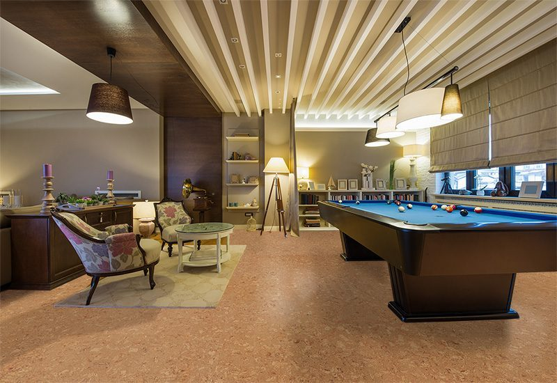 salami forna cork floor interior luxury living room pool ...