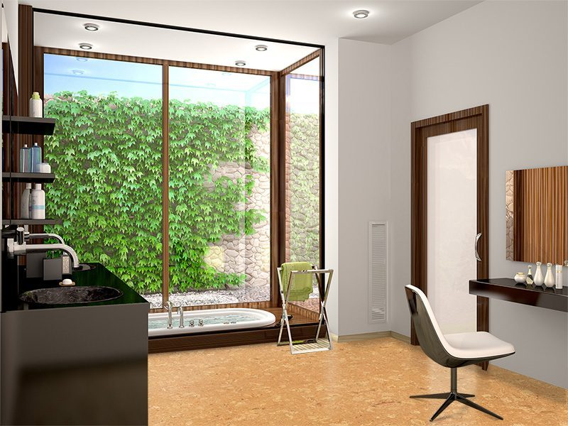 salami forna cork tiles in a modern bathroom large panoramic window