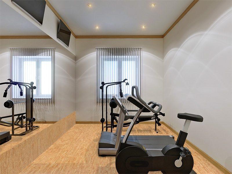 silver birch cork floor home gym interior fitness equipment large