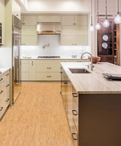 silver birch cork floor kitchen interior island sink cabinets