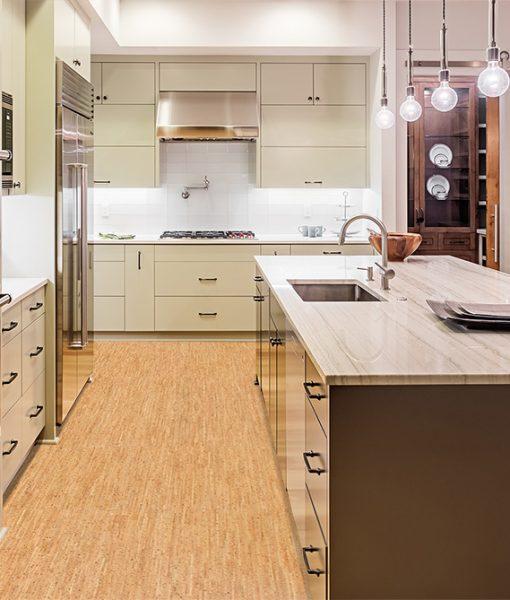 Silver Birch Cork Floor Kitchen Interior Island Sink Cabinets