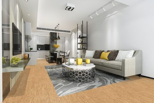 silver birch cork floor modern living room