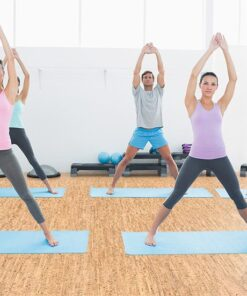 silver birch forna cork flooring sporty class doing pilate exercises fitness yoga