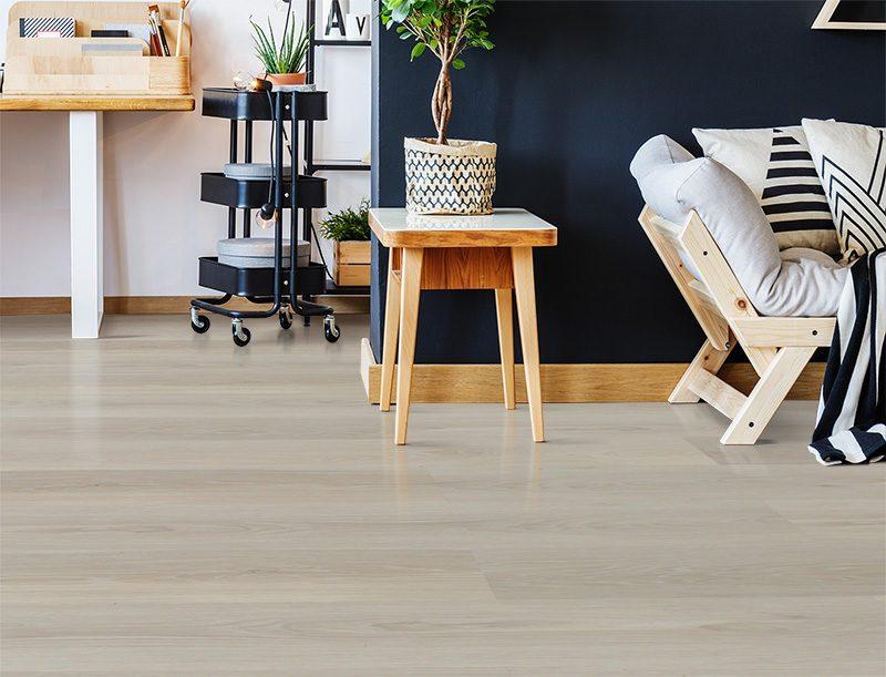 silver pine cork floor nordic interior in stylish open office space studio black wall