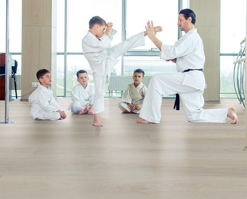 silver pine fusion cork flooring karate dojo training room
