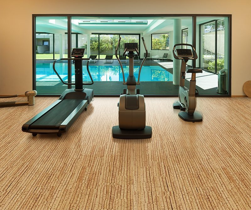sisal forna cork flooring interior gym modern house with swimming poor copy