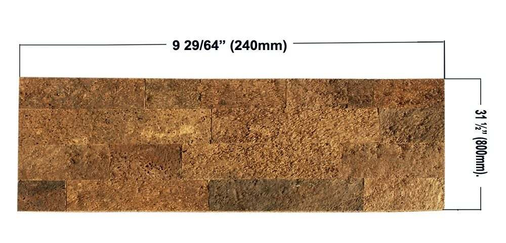 size of brown brick cork wall panels