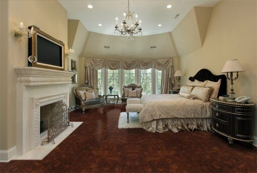 sunny ripple cork floor master bedroom luxury home fireplace