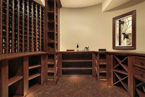 tasmanian burl cork flooring wine cellar in modern home soft