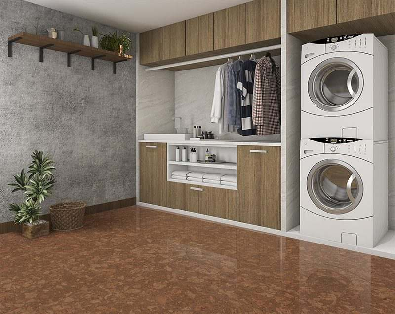 tasmanian burl forna cork floor laundry room with concrete wall