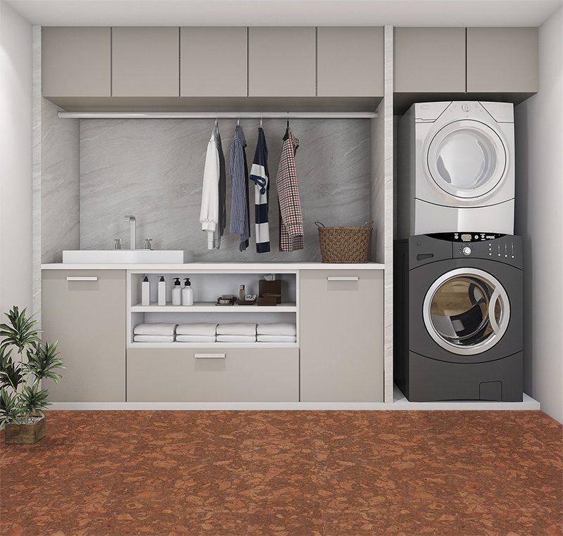 tasmanian burl forna cork floor laundry room