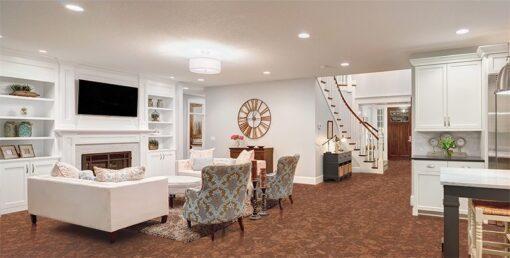 tasmanian burl forna cork floor living room luxury home stairs specious