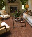 tasmanian burl forna cork floor luxury home living room fireplace