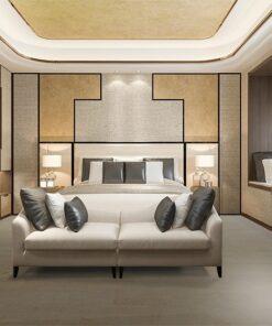 taupe leather cork floor beautiful luxury bedroom suite in hotel