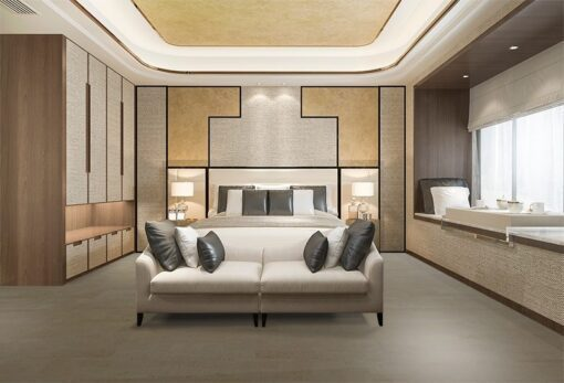 taupe leather cork floor beautiful luxury bedroom suite in hotel