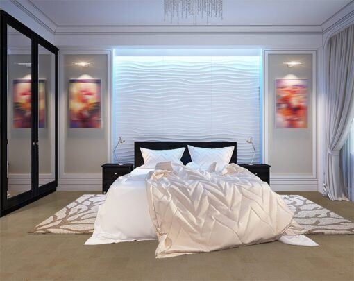 taupe leather cork floor modern bedroom with white gypsum 3D panels on the wall led acklight