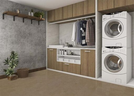 taupe leather forna cork floor 3d rendering wood laundry room concrete wall