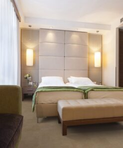 taupe leather forna cork floor modern bedroom