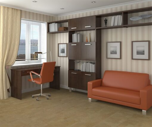 taupe leather forna cork floor modern interior home office
