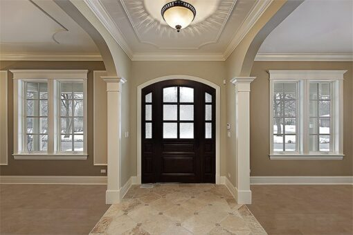 taupe leather forna cork floor spacious luxury foyer new construction home
