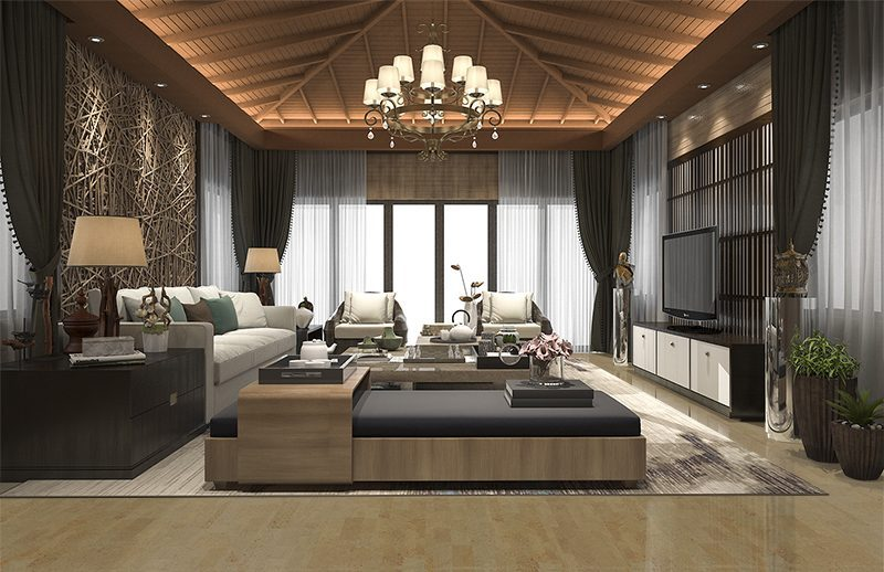taupe leather forna cork flooring tropical style hotel suite living room lounge