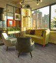 teak fusion cork floor interior modern urban restaurant morning sunlight