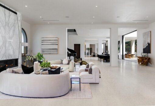 terrazzo white cork flooring basement warm bright colors