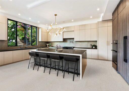 terrazzo white cork flooring sustainable leed for kitchen