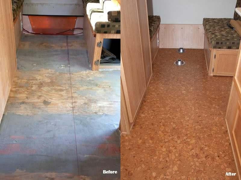 trailer flooring cork tiles before after sand marble
