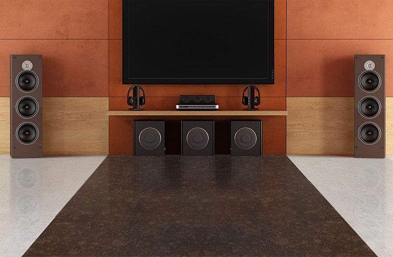 walnut burlwood cork floor creme royal marble modern home theater room without furniture