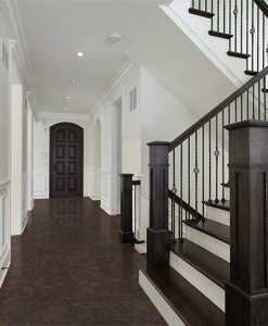 walnut burlwood cork floor foyer new construction home dark wood