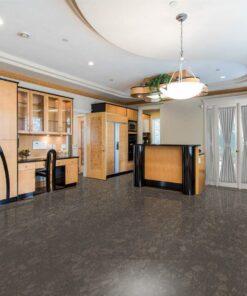 walnut burlwood cork floor in a luxury modern living room