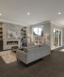 walnut burlwood cork floor living room interior in gray