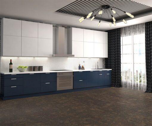 walnut burlwood cork floor modern kitchen interior design dark