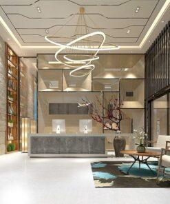 white bamboo cork floor in architectural interior design private club lobby. jpg