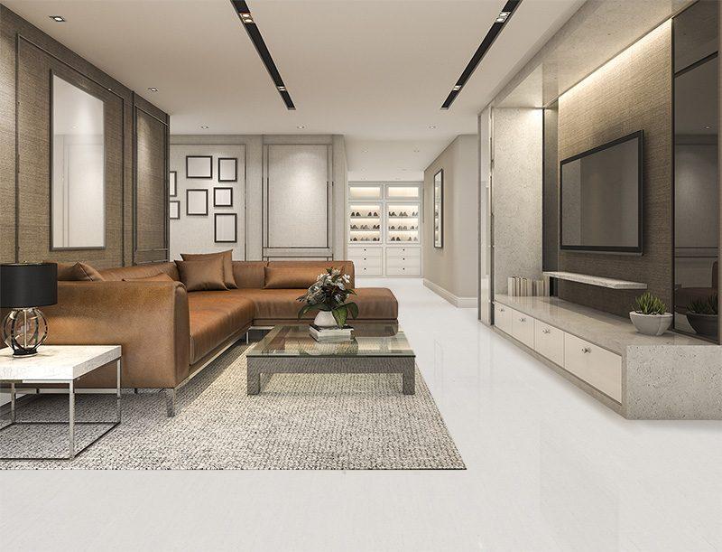 white bamboo foran cork floor luxury modern living room with borwn leather sofa