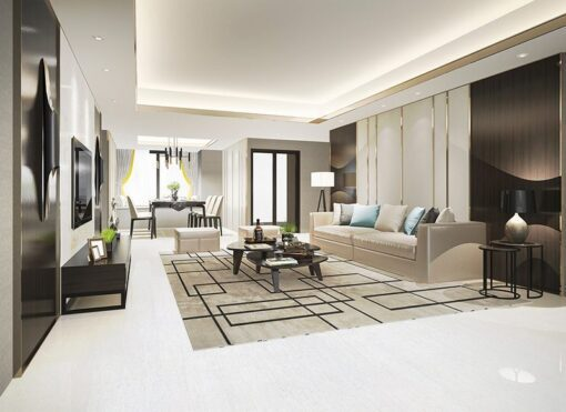 white bamboo forna cork floor luxury modern living room