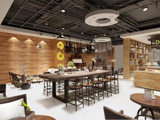 white bamboo interior design private club basement restaurant member