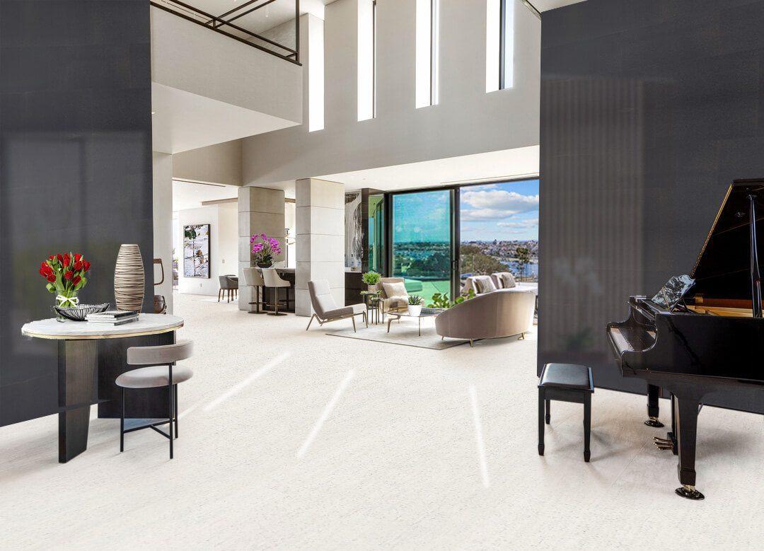 white floor cork white bamboo living room