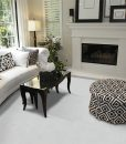 white leather cork floor luxury home living room fireplace stylish white sofa