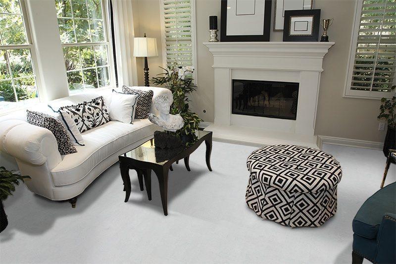 white leather cork floor luxury home living room fireplace stylish white sofa