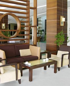 white leather cork floor modern hotel lobby