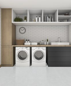 white leather cork floor rendering wood laundry room modern