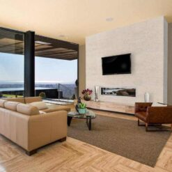 white leather cork tiles feature accent wall