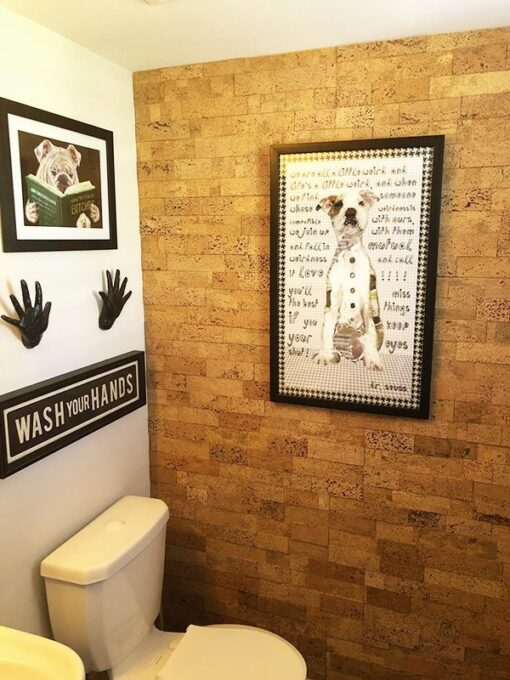 wood bricks cork wall tiles powder room soundproof