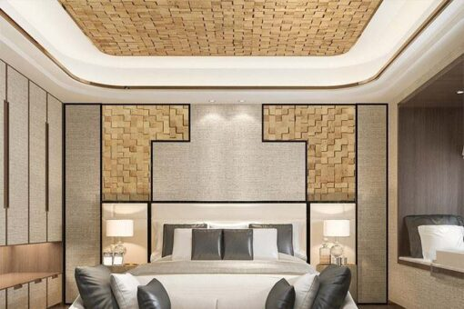 wood cubes cork ceiling tiles contemporary luxury bedroom soundproof panels