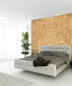 wood cubes cork wall panel tiles modern bedroom design interior